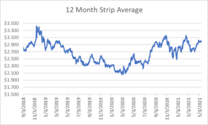 12 month strip for natural gas May 13 2021 report