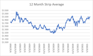12 month strip for natural gas June 10 2021 report
