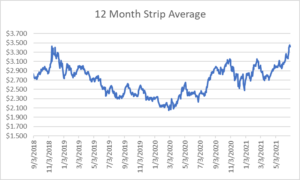 12 month strip for natural gas July 1 2021 report