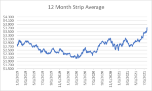 12 month strip for natural gas July 22 2021 report