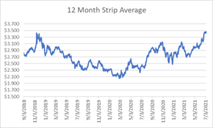 12 month strip for natural gas July 8 2021 report