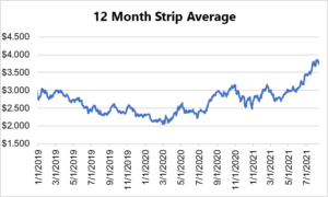 12 month strip for natural gas August 12 2021 report