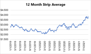 12 month strip for natural gas August 26 2021 report
