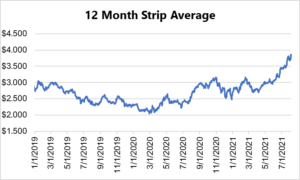 12 month strip for natural gas August 5 2021 report