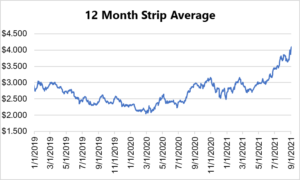 12 month strip for natural gas September 2 2021 report